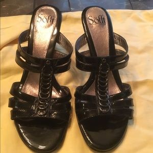 Sofft Black Patent Leather Strap Heels
